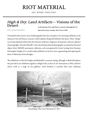 Riot Material – High & Dry: Land Artifacts – Visions of the Desert – May 2018